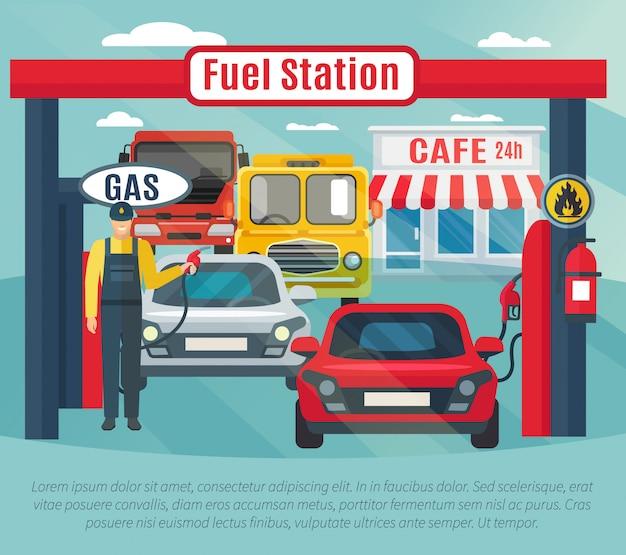 Benzinestationachtergrond met brandstofarbeidersauto's en koffie