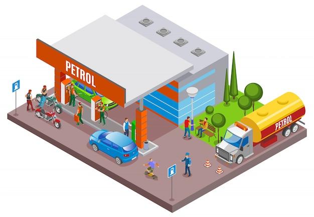 Benzinestations vult isometrische samenstelling met stedelijk landschap en benzinestation met mensen en auto's