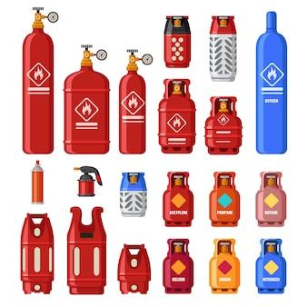 Benzinetank. gaz-cilinders met acetyleen, propaan of butaan. aardoliebrandstof in veiligheidscilinder. helium in metalen tank geïsoleerde vector set