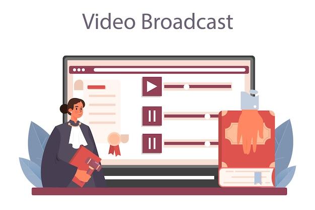 Beoordeel online service of platform. gerechtsmedewerker staat voor recht en recht. rechter die een zaak behandelt en veroordeelt. online video-uitzending. platte vectorillustratie