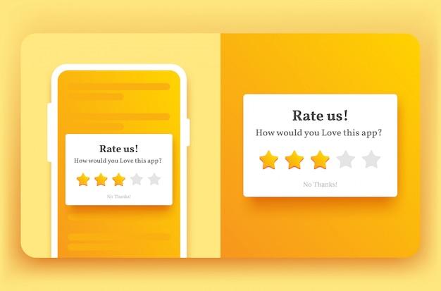 Beoordeel ons feedback pop-up voor mobiel in gele kleur en stijlvolle ster met schaduw