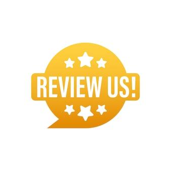 Beoordeel ons gebruikersbeoordelingsconcept. beoordeel en beoordeel ons sterren. bedrijfsconcept. vector illustratie