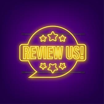 Beoordeel ons gebruikersbeoordelingsconcept beoordeel en beoordeel ons sterren neonpictogram bedrijfsconcept