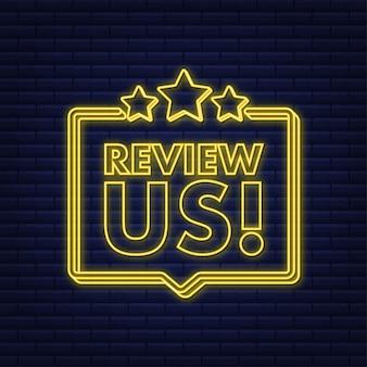 Beoordeel ons gebruikersbeoordelingsconcept beoordeel en beoordeel ons sterren neonpictogram