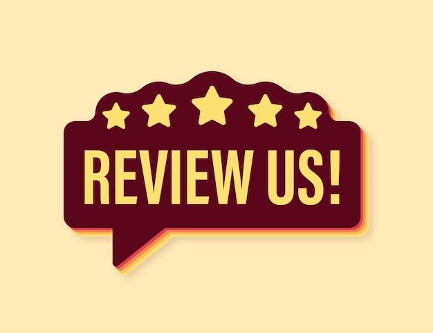 Beoordeel ons gebruikersbeoordelingsconcept beoordeel en beoordeel ons sterren retro pictogram bedrijfsconcept