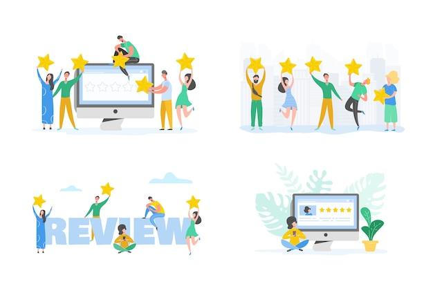 Beoordeling concept illustratie. vrouw teken goede feedback schrijven met gouden sterren. klanttarief services en gebruikerservaring met laptop. vijf sterren positieve mening. tekenfilm