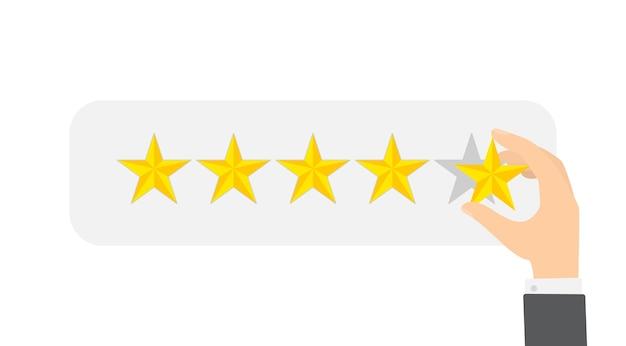 Beoordeling concept. mensen laten feedback achter en reageren inhoud. idee van klantenbeoordeling. positieve en negatieve beoordeling. illustratie