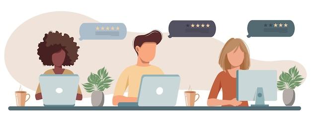 Beoordeling en feedback op banner voor klantenservice