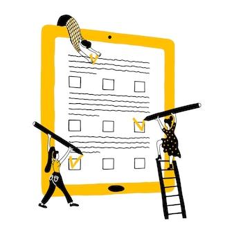 Beoordeling klantbeoordeling. mensen geven feedback en waardering.