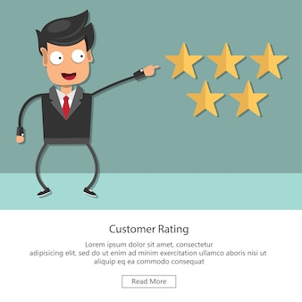 Beoordeling op illustratie van de klantenservice