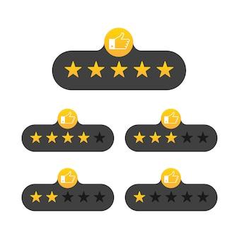 Beoordeling sterren badges op wit