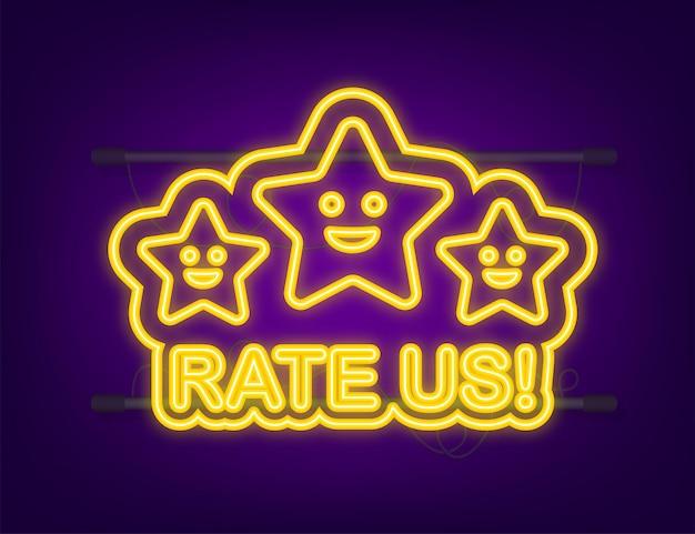 Beoordeling sterren plat ontwerp gebruikersrecensies classificatie classificatieconcept neon icoon genieten van de app