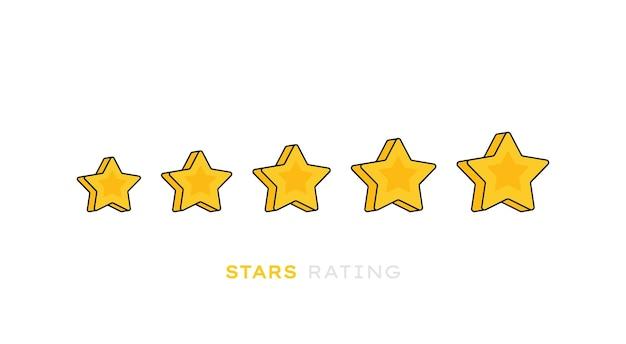 Beoordeling van de productbeoordeling van vijf sterren. moderne vlakke stijl