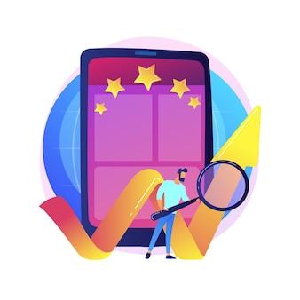 Beoordeling van mobiele apps, online beoordeling, efficiëntiemarkering. sterren instellen voor toepassing, functie-evaluatie. smartphone-gebruikers stripfiguren
