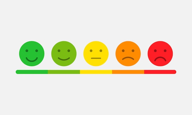 Beoordelingsschaal in de vorm van stemmings-emoticons. feedback of beoordeling. vectoreps 10
