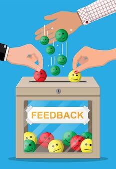 Beoordelingsvak met beoordelingen glimlachende gezichten
