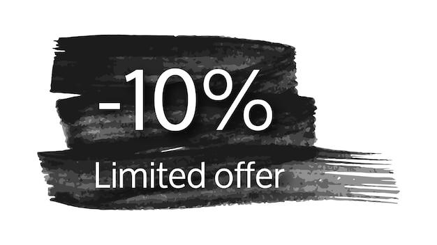 Beperkte aanbieding banner op zwarte penseelstreek met 10% korting. witte cijfers op zwarte penseelstreek op witte achtergrond. vector illustratie