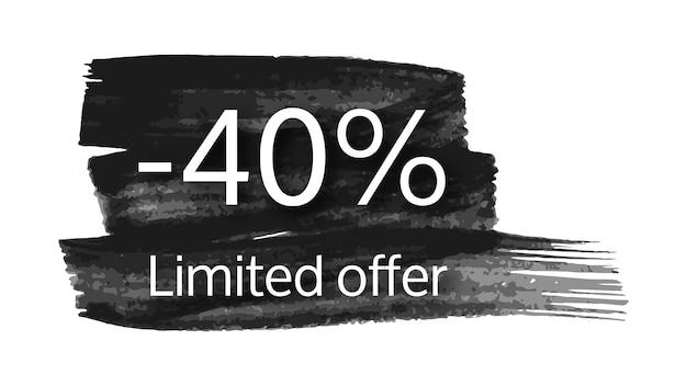 Beperkte aanbieding banner op zwarte penseelstreek met 40% korting. witte cijfers op zwarte penseelstreek op witte achtergrond. vector illustratie
