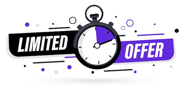 Beperkte aanbieding met klok voor promotie, banner, prijs. super promo met countdown of exclusieve deal. last minute aanbieding een dag verkoop en timer. last minute kans veiling tag