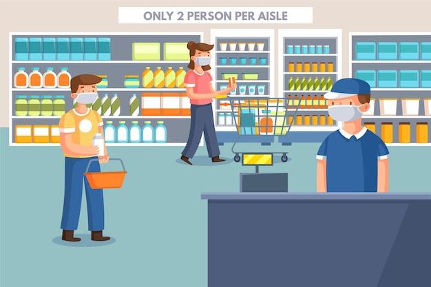 Beperkte klanten in een lokale winkel