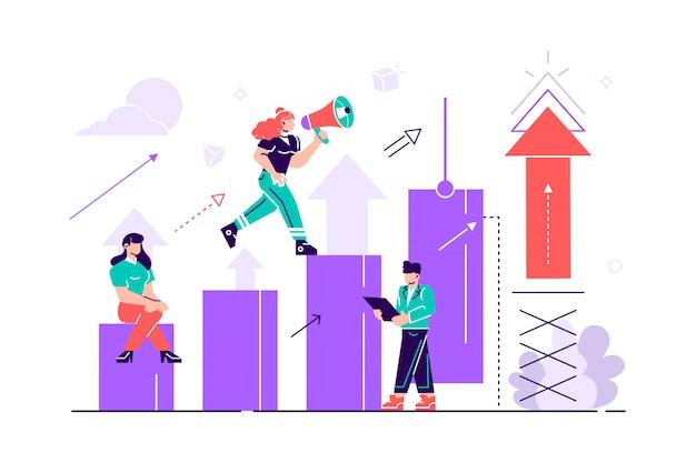 Bereid de lancering van een zakelijk project voor. opkomst van carrière tot succes. bedrijfsanalyse, start opschaling. vlakke stijl kleur iconen illustratie voor webpagina, sociale media, documenten, kaarten.