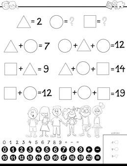 Berekening educatief spel voor kinderen kleurboek