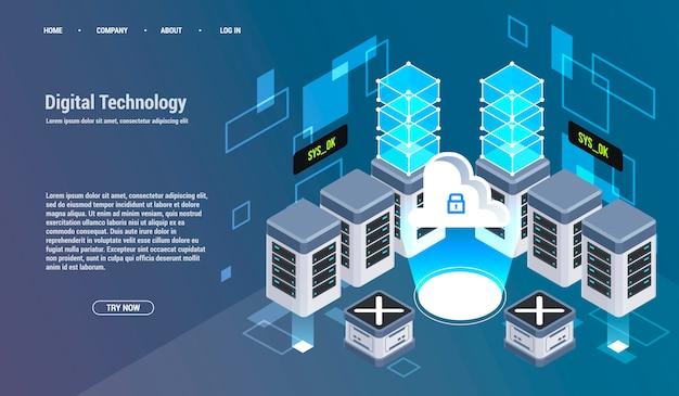 Berekening van big data center, informatieverwerking, database. internetverkeer routing, serverruimte rack isometrische vector technologie.
