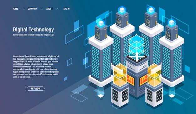 Berekening van big data center, informatieverwerking, database. internetverkeer routing.