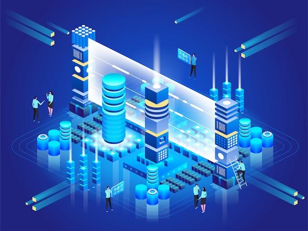 Berekening van big data center, informatieverwerking, database. internetverkeer routing