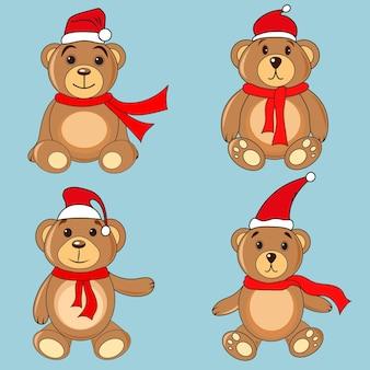 Beren bruine stickers in kerstmutsen santa claus.