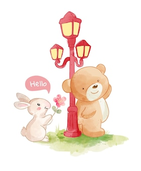 Beren en kleine konijnvriend illustratie