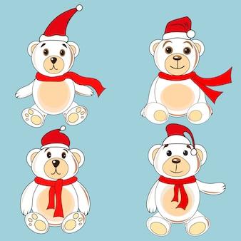 Beren witte labels met kerstmutsen van de kerstman