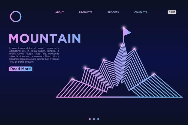 Berg abstracte vormen lijnen dynamische vloeiende kleurrijke bestemmingspagina op blauwe achtergrond met kleurovergang.