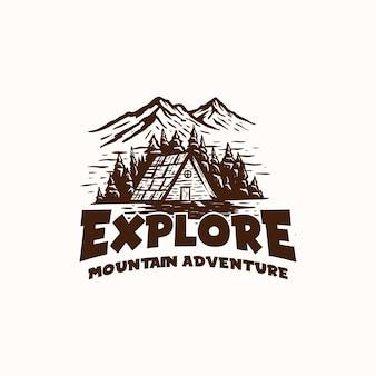 Berg avontuur en buiten vintage logo sjabloon. badge of embleemstijl.
