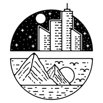 Berg bouwen monoline vintage outdoor badge ontwerp