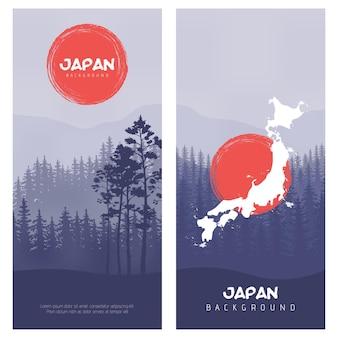 Berg- en boslandschap. illustratie van de vlag van japan vector achtergrond. zonnestraaleffect in retrostijl