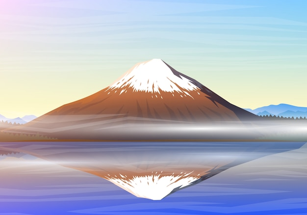 Berg fuji, ochtendpanorama met bezinning over het meer kawaguchiko, pieken, landschap vroeg in een daglicht. reizen of kamperen, klimmen