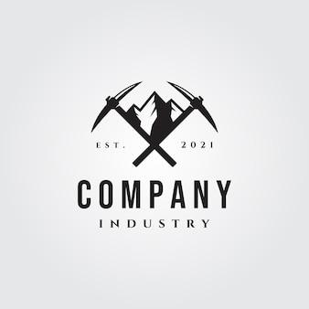 Berg houweel vintage logo illustratie