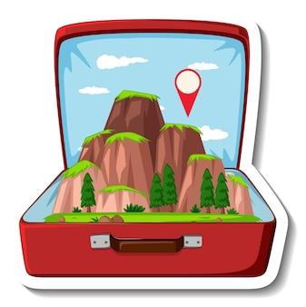 Berg in de geopende koffer