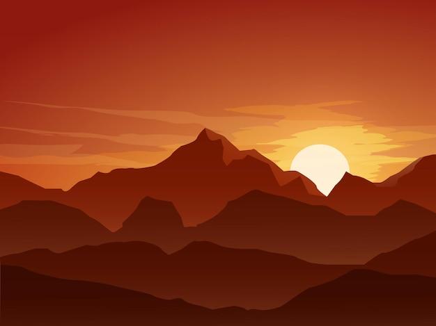 Berg in zonsondergang vlakke landschapsillustratie
