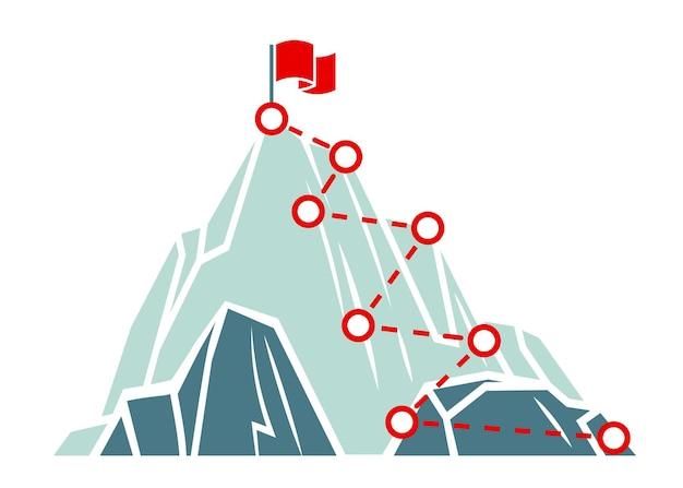 Berg klim pad. succes bedrijfsconcept. klimroute naar de top. outdoor activiteiten wandelen of wandelen. weg naar doel, overwinning, platte vector minimalistische illustratie