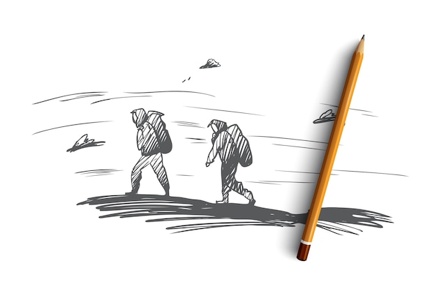 Berg, klimmen, extreem, sportconcept. hand getrokken mensen klimmen op hoge berg concept schets.