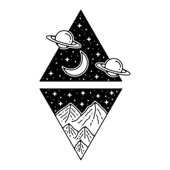 Berg kosmische monoline vintage badge