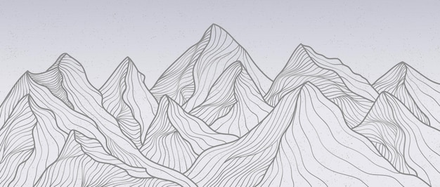 Berg lijn kunst print. abstracte berg hedendaagse esthetische achtergronden landschappen