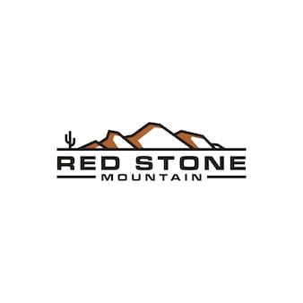 Berg met cactus, zoals camelback mountain shape-logo