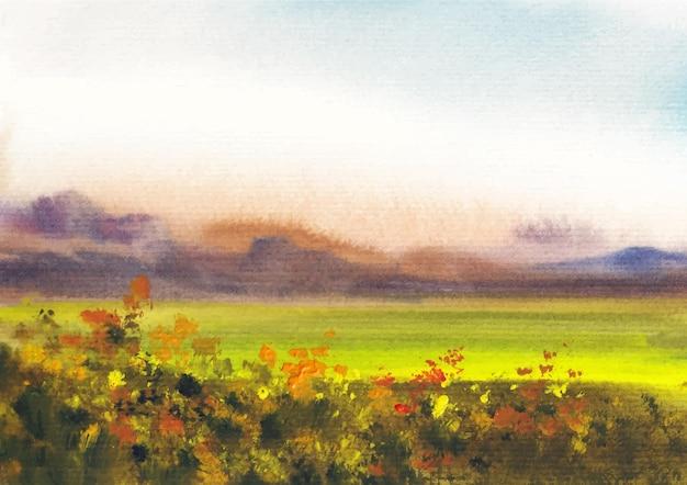 Berg met ochtendlicht aquarellandschap