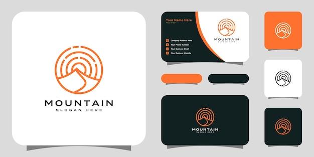 Berg met zonlicht logo-ontwerp en visitekaartje