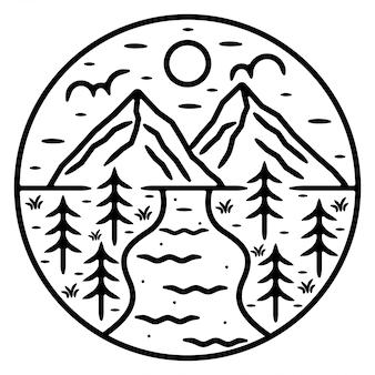 Berg monoline buiten logo-ontwerp
