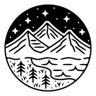 Berg monoline vintage outdoor badge ontwerp