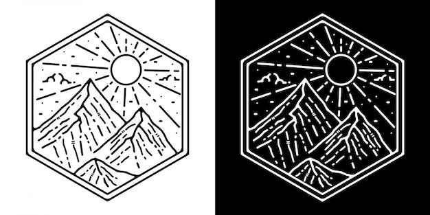 Berg monoline vintage outdoor badge verwaardigen